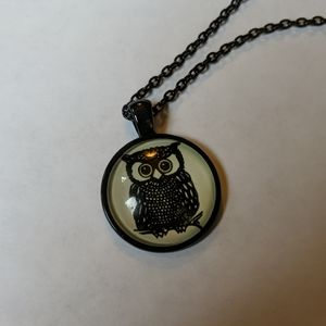 Black owl cabochon necklace on black chain